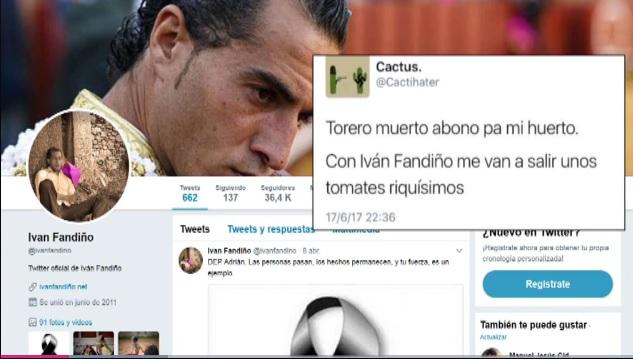 Piden a la Guardia Civil y la Policía que investiguen los insultos a Iván Fandiño en Twitter